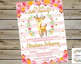 Oh Deer BABY SHOWER INVITATION, Watercolor Baby Deer Baby Shower Invite, Pink Floral Baby Shower Invitation, Digital Printable