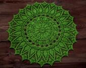 Napperon crochet fait main, élégant décor intérieur - napperon vert grande taille