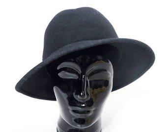 SALE Vintage Black Wool Hat