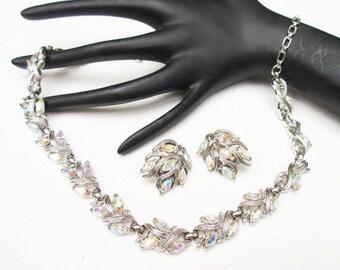 Trifari Rhinestone Necklace and Earrings set - Aurora Borealis -Silver - Mid Century