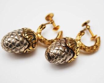 Vermeil Acorn Earrings - Vintage sterling silver - gold plated - Screw back earrings