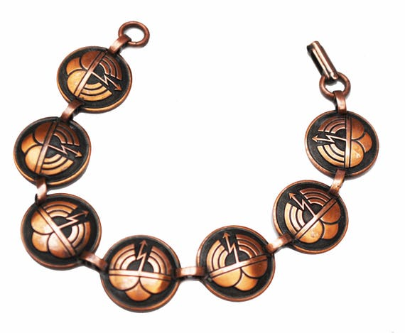 Copper Panel link Bracelet - Southwestern - Tribal - round links - bangle