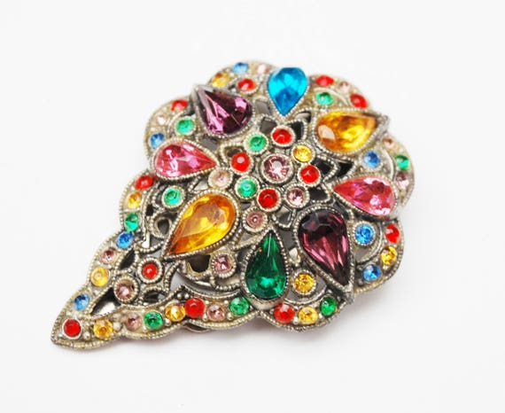 Colorful Rhinestone Dress  Clip - Art Deco - Silver Pot metal  - floral