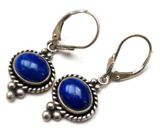 Sterling Lapis earrings - Signed QT - dangle blue gemstone -  southwestern pierced earring