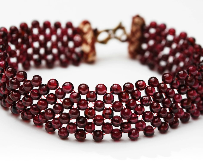 Garnet woven bead Bracelet - maroon red gemstone -pyrope beads-