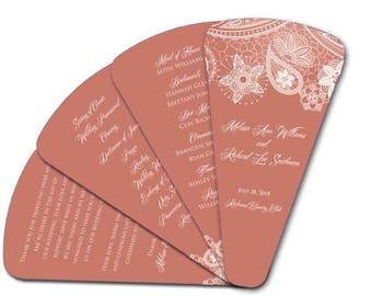 Summer Sale Coral Lace Four Petal  Wedding Ceremony Program Fan - Ceremony Fan, Hand Fan, Paper Fan, Spring Colors, Rustic Weddings