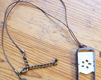 Rectangle pendant - 34 - antique lace and glass