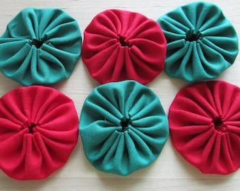 Yo yos 30 2  inch red and Christmas green solid Fabric YO YOS