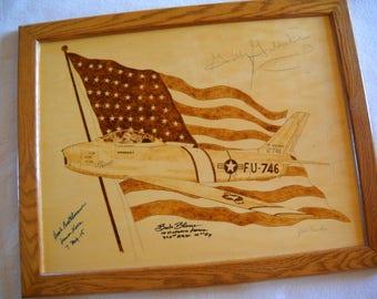 Francis Gabby Gabreski autograph Hank Buttelmann Boots Blesse fighter ace F-86 Sabre jet woodburning vintage photos military historical art