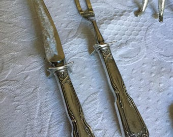Vintage Mirrorsteele Stainless Blade/Tines-Sterling Silver Carving Fork and Knife Set