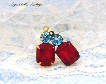 Vintage Siam Red Octagon Stone & Aquamarine Swarovski Rhinestone Set Stone Drop or Connector 18x8mm Antique Silver, Brass, Black Setting - 2