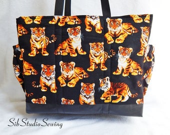 Tiger Diaper Bag, Zipper Closure, Lots of Pockets, 16 x 13 x 6 inches, Black Faux Leather Bottom, Baby Tiger Nappy Bag, Toddler Daycare Bag