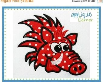 50% Off 032 Wild Boar Razorback applique digital design for embroidery machine by Applique Corner