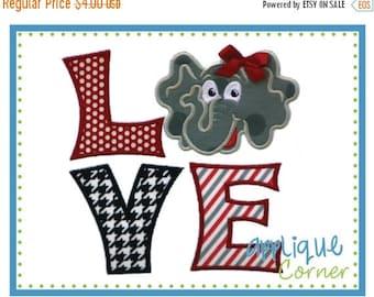 40% OFF 223 LOVE Elephant applique digital design for embroidery machine by Applique Corner
