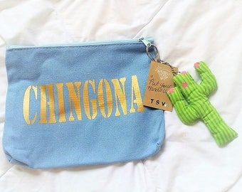 CHICANA Chingona, Jefa, Cabrona, Luchadora, Chula MAKEUP BAG Rose Rhinestone Clutch with Cactus KeyChain