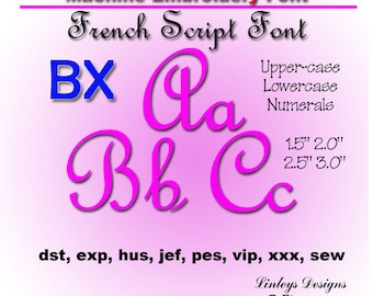 Download Machine Embroidery Alphabet: French Script Font.
