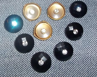 Group of 9 Vintage Rhinestone Buttons-Item# 604