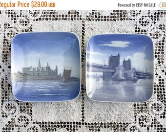 """17% OFF SALE Denmark 4"""" Plates/Royal Copenhagen Dishes/Set of 2 Pin or Butter Plates/ Denmark Blue and White/Hand Painted Danish Scenes/Arti"""
