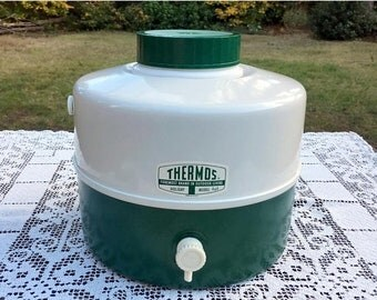 17% OFF SALE Thermos Picnic Jug/Green & White 2 Tone/Holiday Model/THERMOS Picnic Jug/Tailgate Party Cooler/1 Gal Camping Cooler/New Never U