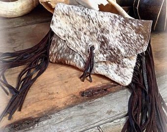 20% OFF Western white and chocolate hair on hide leather fringe clutch