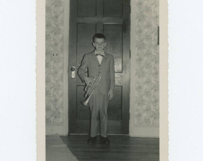 Vintage Snapshot Photo: Young Trumpet Player, c1950s (79605)