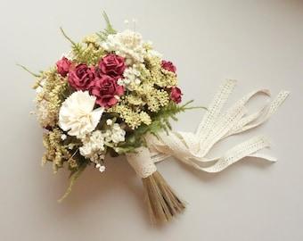 Burgundy Bridal Bouquet, Dried Flower Bouquet, Winter Wedding, Marsala Wedding, Silk Wedding Bouquet, Boho Wedding, Bouquet, BURGUNDY ROSE
