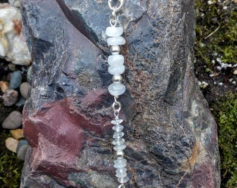 Hair Clip - Natural Moonstone and Sterling Silver Hair Charm