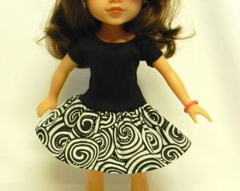 Wellie Wishers Like Geometric Print Dress For 14.5 Inch Doll