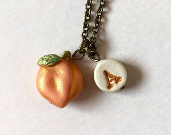 Peach necklace, Initial and name necklace for girls, Peach Charm