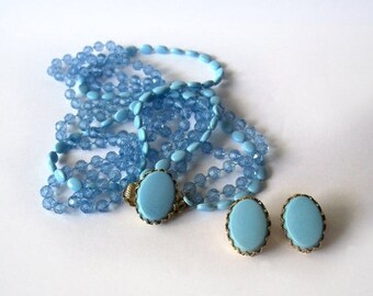 Vintage Blue Beaded Necklace Clip on Earrings set demi parure