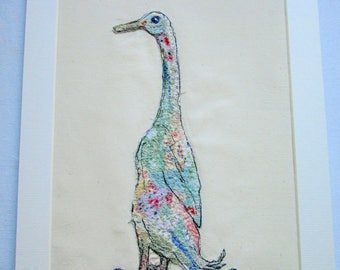 Textile art, fabric collage, indian runner duck