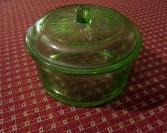 uranium green medium size lidded storage container