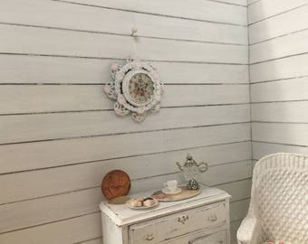 Shabby Chic dollhouse wall clock - Free Shipping to the US