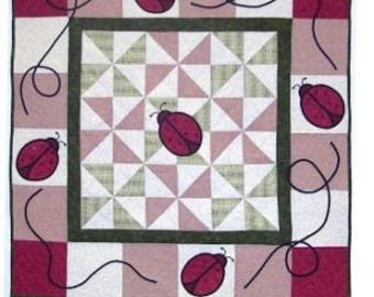 The Ladybug Wall Hanging, Quilt Pattern, Red Ladybugs, DIY Quilt Pattern
