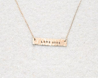 Love Wins Gold Bar Necklace