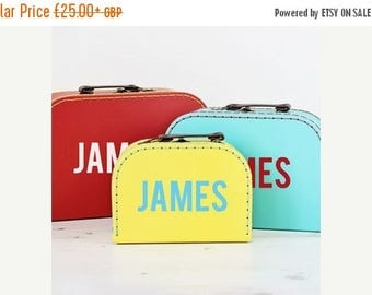 ON SALE Personalised Retro Suitcase Storage Box Trio - Display Decor Craft Decoration Prop P108