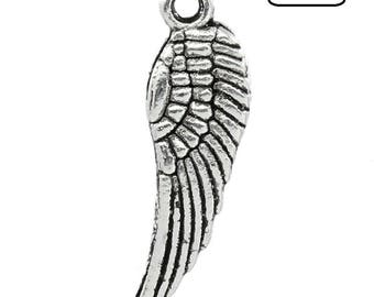 LOTS of 5 beautiful wing Charm pendants 10mm x 30mm metal
