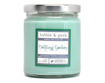 Halfling Garden Soy Candle jar - green - book candle - bookish