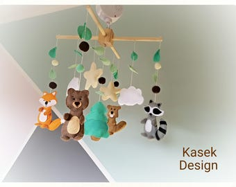 Ready to ship - Baby Crib Mobile - Music Baby Mobile - Felt Mobile - Nursery mobile - Woodland - Camping- Woodland animals - Forest
