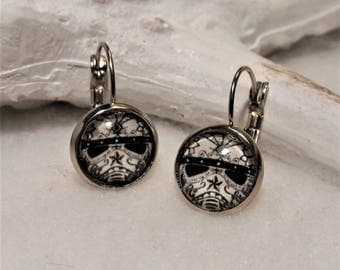 calaveras stormtrooper earrings silver