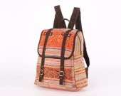 Oriental Traditional Hmong Embroidery Tribal Backpack Bag Vintage Needlework Hand Stitched