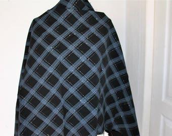 Black plaid fabric with lurex thread