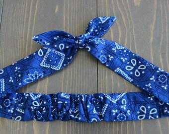 Classic Blue Bandana Print, Knotted Hair Tie, Rosie Wrap, Headband, Hair Scarf, Photo Prop, Rockabilly, White, Floral, Summer