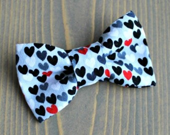Valentine's Day Bow Tie for Pets, Cat Bowtie, Dog Clothing, Hearts, Black Heart, Grey, Red, Slide on Collar Accessory, Collar NOT included