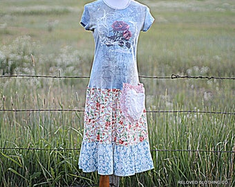 Women's Floral Dress Shabby Boho Drop Waist Pocketed Frock Garden Party Farmer's Market Clothing Reloved Clothing Co