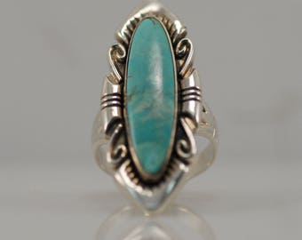 Vintage Bell Trading Post Turquoise Sterling Silver Ring South West Statement
