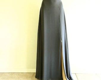 Dark Grey Bridesmaid Skirt. Long Skirt With Slit. Dark Grey Floor Length Skirt. Chiffon Maxi Skirt.