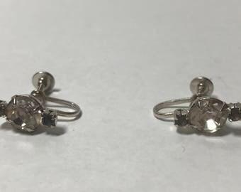 Vintage silver tone clear and grey rhinestne earrings