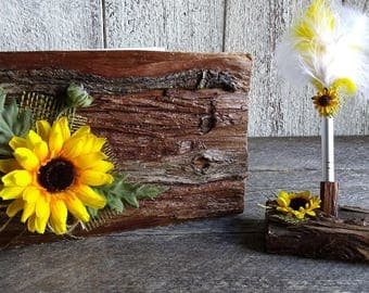 Rustic Wooden wedding guest book with pen holder, Sunflower guestbook, Farmhouse guestbook with pen holder, Lined english version guestbook