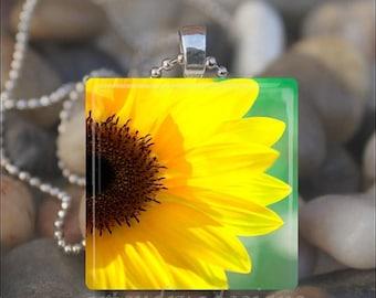 10% OFF JUNE SALE : Yellow Sunflower Spring Garden Summer Flower Floral Glass Tile Pendant Necklace Keyring